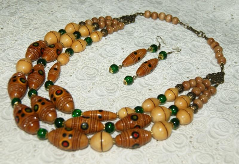 Этно-ожерелье Коричневый Деревянные винтажные буси Павлова Марина - фото 4