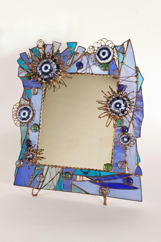 """Витражное настольное зеркало """"синие цветы""""  Витражное стекло, керамик Павлык Роксолана - фото 1"""