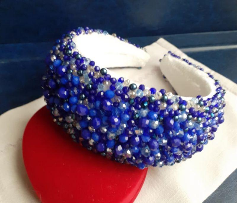Обруч синий Синий основа - пластик, бархат Педь Ирина - фото 1