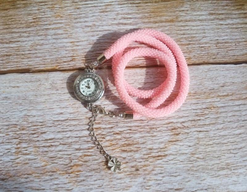 Годинник рожевий з бісеру Рожевий заготівля циферблат, чесь Петлицька Любов - фото 2