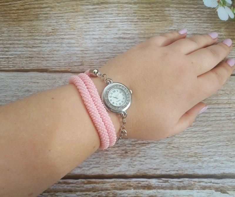 Годинник рожевий з бісеру Рожевий заготівля циферблат, чесь Петлицька Любов - фото 6