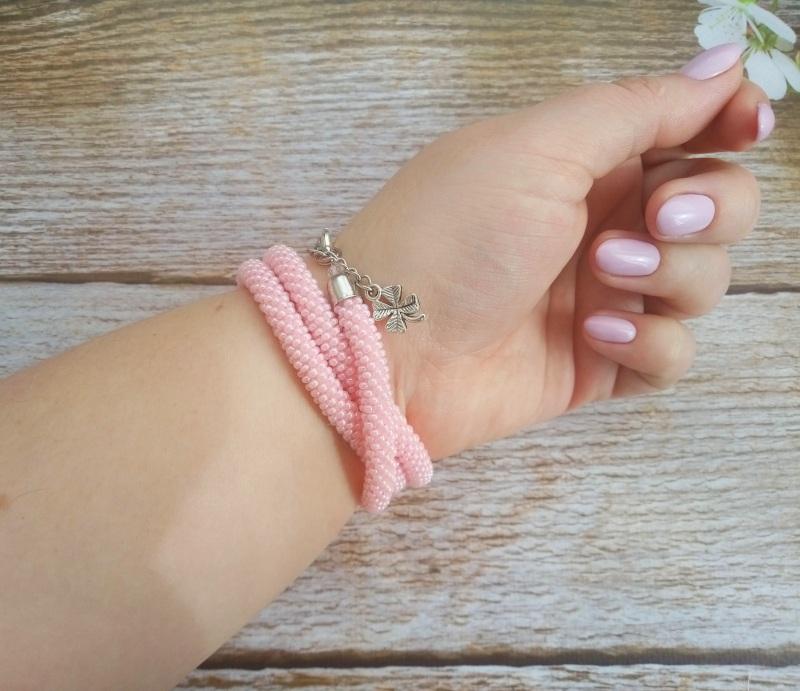 Годинник рожевий з бісеру Рожевий заготівля циферблат, чесь Петлицька Любов - фото 5