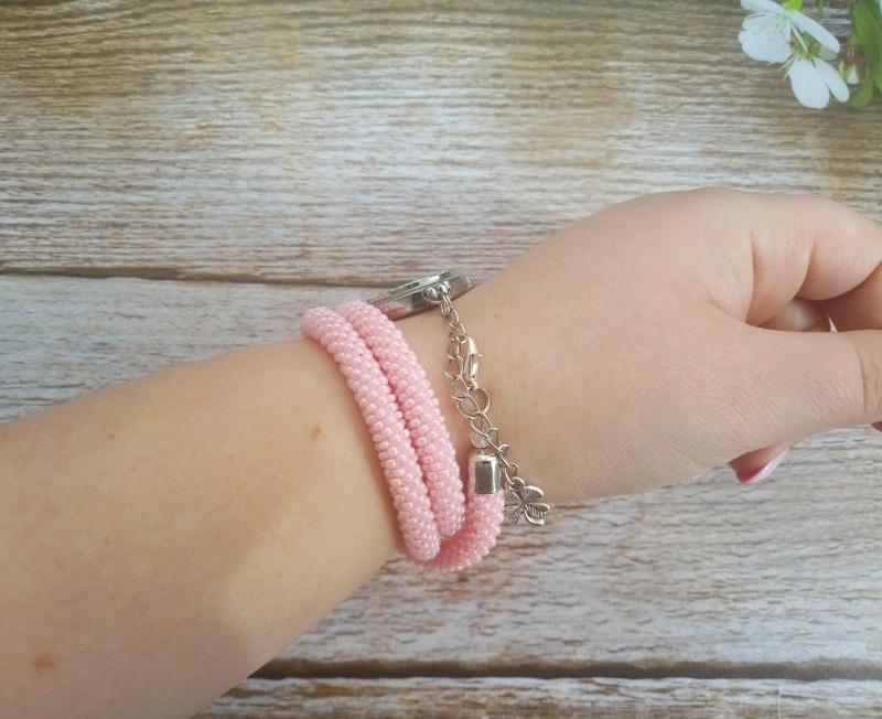 Годинник рожевий з бісеру Рожевий заготівля циферблат, чесь Петлицька Любов - фото 4