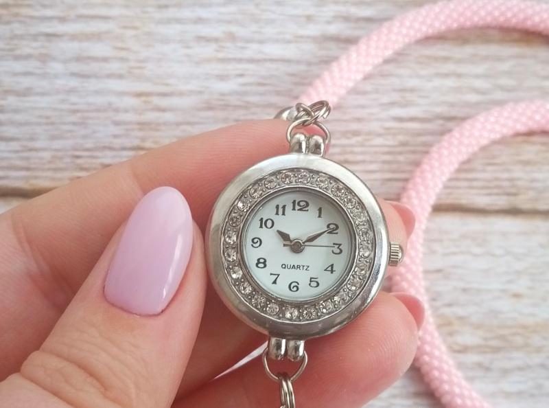 Годинник рожевий з бісеру Рожевий заготівля циферблат, чесь Петлицька Любов - фото 7