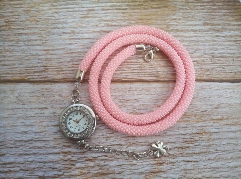 Годинник рожевий з бісеру Рожевий заготівля циферблат, чесь Петлицька Любов - фото 8