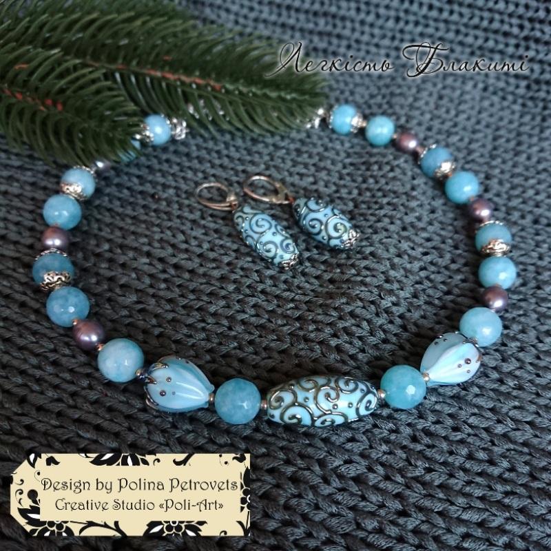 """Ожерелье из жемчуга, аквамарина и лемпворка """"Легкость небесного"""" Голубой бусины жемчуга, голубых а Poli-Art - фото 4"""