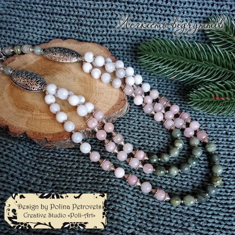 """Ожерелье из агатов, яшмы и розового кварца """"Легкость чувств"""" Розовый бусины агата, яшмы и розо Poli-Art - фото 3"""