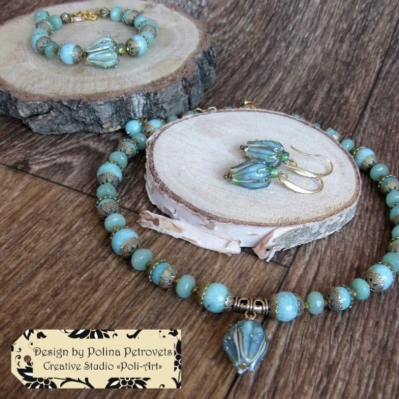 """Колье с браслетом и серьгами из натурального камня и лэмпворк """"В свежести Весны"""" Голубой Натуральный камень: амазо Poli-Art - фото 7"""