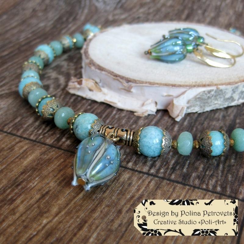 """Колье с браслетом и серьгами из натурального камня и лэмпворк """"В свежести Весны"""" Голубой Натуральный камень: амазо Poli-Art - фото 3"""