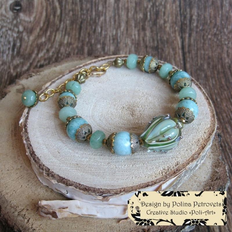"""Колье с браслетом и серьгами из натурального камня и лэмпворк """"В свежести Весны"""" Голубой Натуральный камень: амазо Poli-Art - фото 5"""