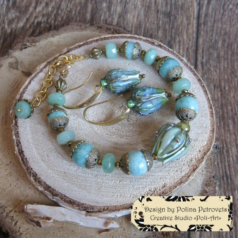 """Колье с браслетом и серьгами из натурального камня и лэмпворк """"В свежести Весны"""" Голубой Натуральный камень: амазо Poli-Art - фото 6"""