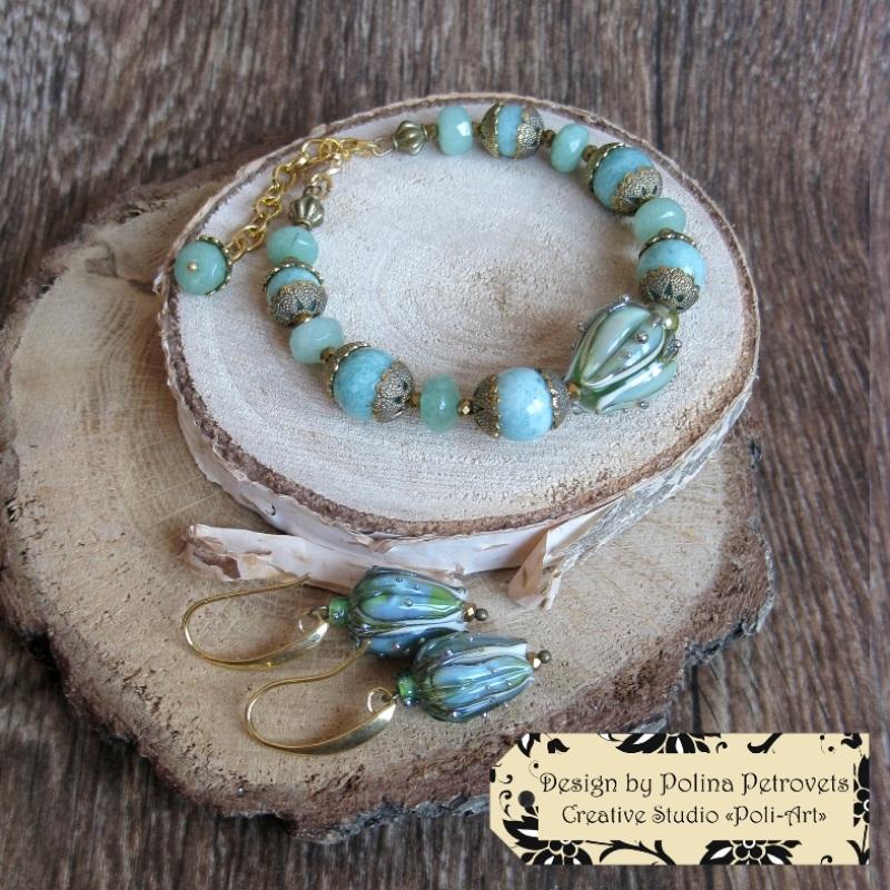 """Колье с браслетом и серьгами из натурального камня и лэмпворк """"В свежести Весны"""" Голубой Натуральный камень: амазо Poli-Art - фото 4"""