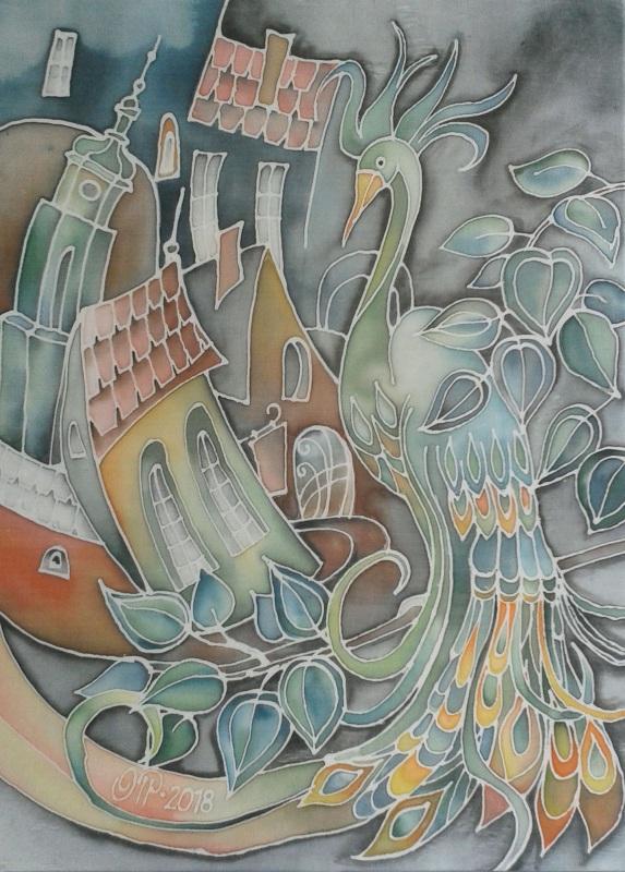 Птица удачи  шелк, акриловые краски, п Петрович Елена - фото 1