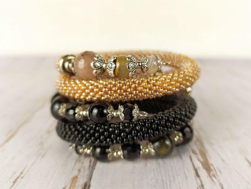 Бисерные браслеты Желтый Чешский бисер, натуральны Пищерикова Марина - фото 3