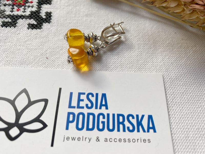 Серьги янтарные Желтый янтарь, фурнитура Подгурская Леся - фото 4