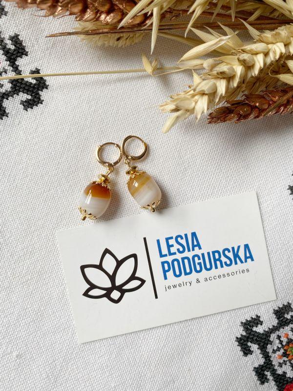 Серьги Бежевый  агат, фурнитура Подгурская Леся - фото 2