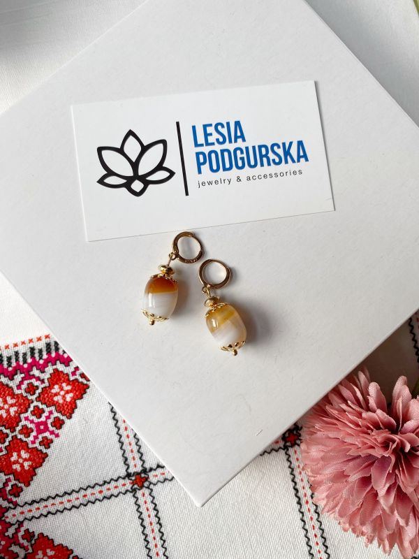 Серьги Бежевый  агат, фурнитура Подгурская Леся - фото 4