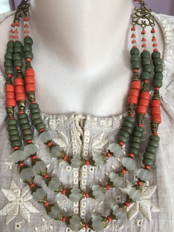 Ожерелье из керамики Разноцветный Керамика ручной работы, с Подгурская Леся - фото 1