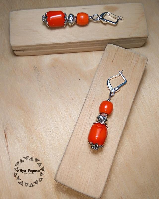 Серьги «Традиционные 2» Красный Натуральные кораллы, фурн Попова Ольга - фото 1
