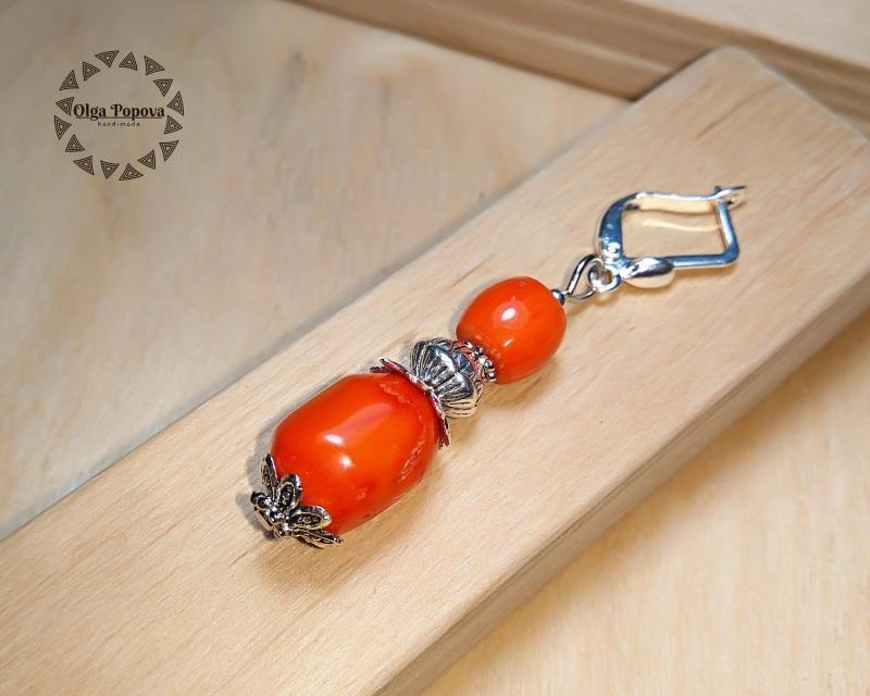 Серьги «Традиционные 2» Красный Натуральные кораллы, фурн Попова Ольга - фото 3