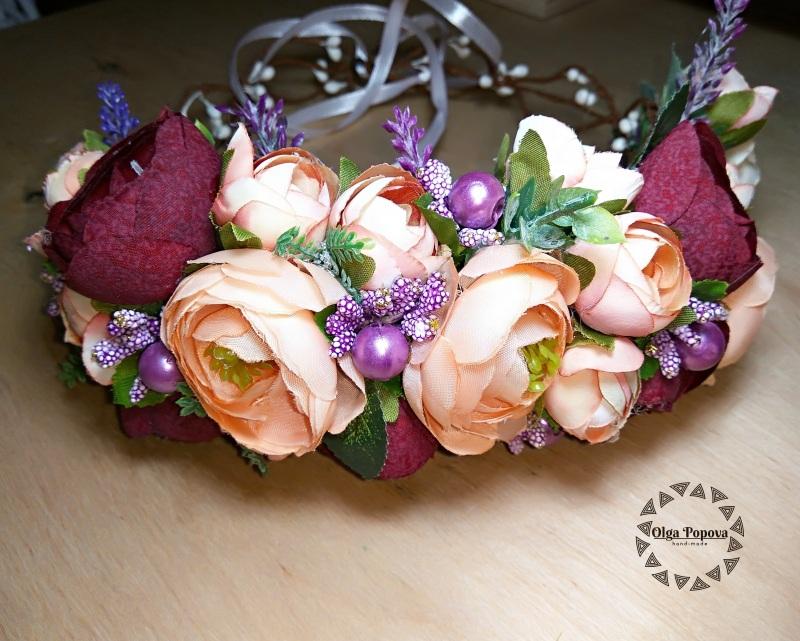 Обруч «Романия»  Искусственные цветы (ткан Попова Ольга - фото 2