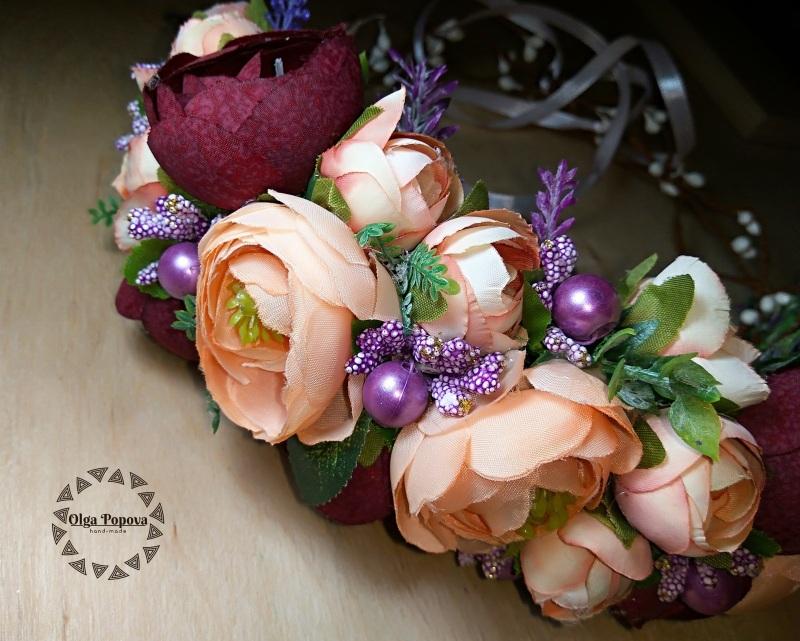 Обруч «Романия»  Искусственные цветы (ткан Попова Ольга - фото 3
