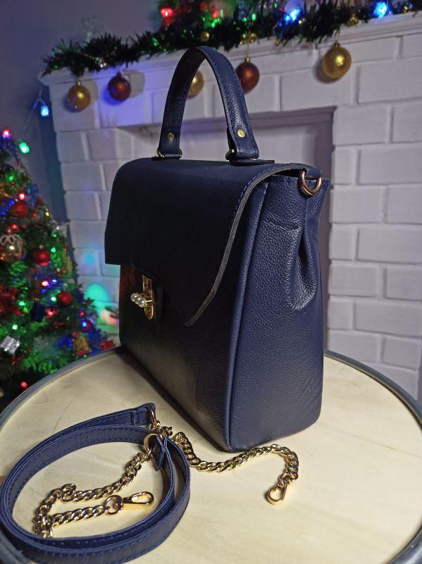 Кожаная женская сумочка на длинном ремешке Синий Натуральная кожа Процюк Виктория - фото 5