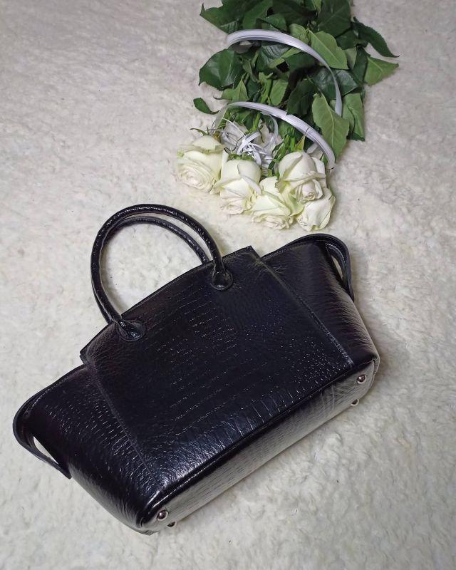 Большая женская сумочка ручной работы Черный Натуральная кожа Процюк Виктория - фото 5