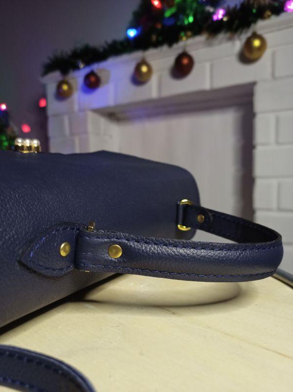 Кожаная женская сумочка на длинном ремешке Синий Натуральная кожа Процюк Виктория - фото 2