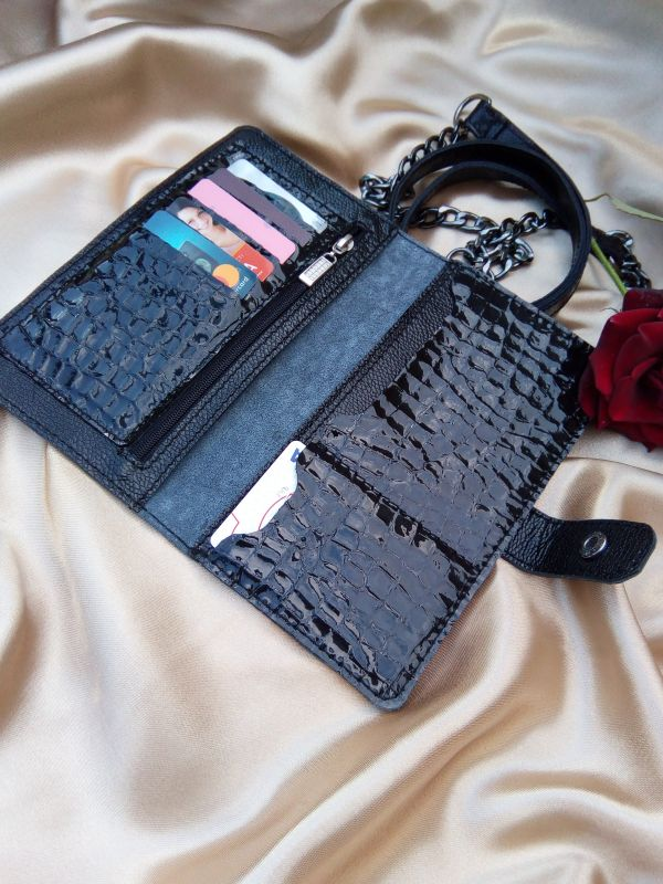 Женский кошелек из натуральной кожи под крокодила (черный) Черный Натуральная кожа Процюк Виктория - фото 4
