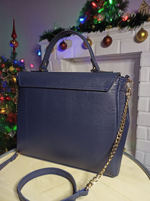 Кожаная женская сумочка на длинном ремешке Синий Натуральная кожа Процюк Виктория - фото 3