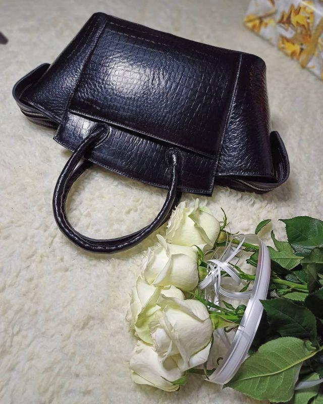 Большая женская сумочка ручной работы Черный Натуральная кожа Процюк Виктория - фото 6