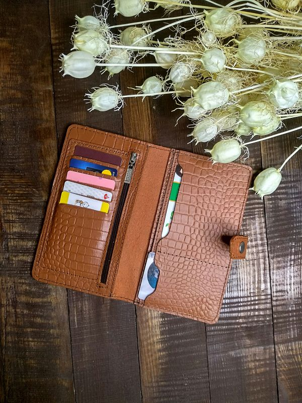 Женский кожаный кошелек под крокодила (коричневый) Коричневый Натуральная кожа Процюк Виктория - фото 3