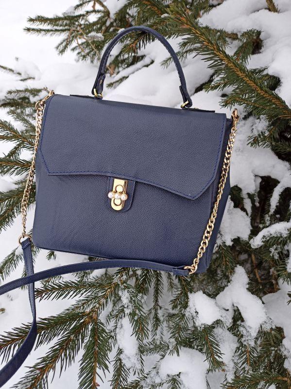 Кожаная женская сумочка на длинном ремешке Синий Натуральная кожа Процюк Виктория - фото 1