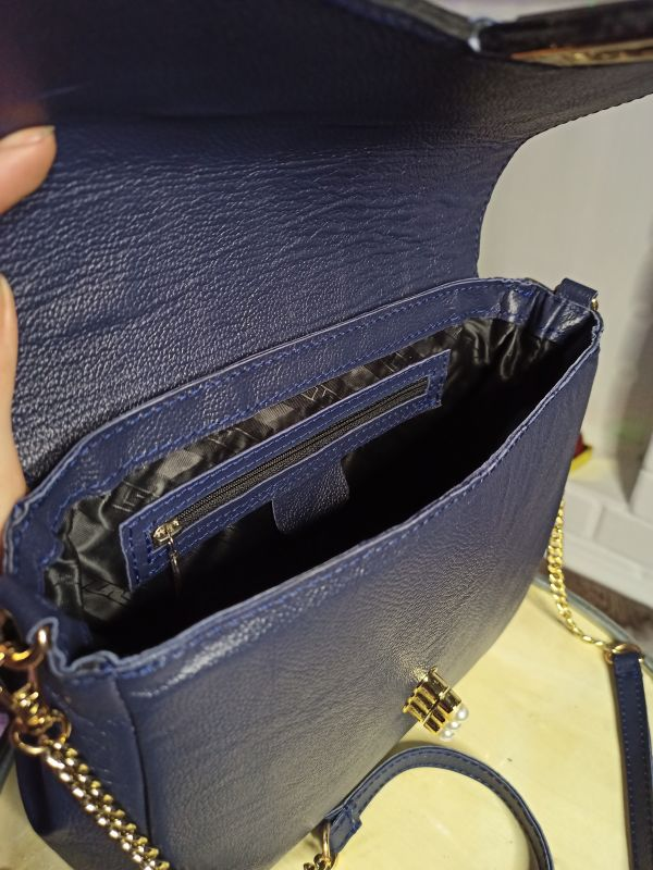 Кожаная женская сумочка на длинном ремешке Синий Натуральная кожа Процюк Виктория - фото 6