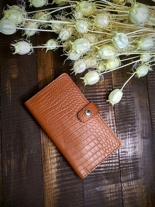 Женский кожаный кошелек под крокодила (коричневый) Коричневый Натуральная кожа Процюк Виктория - фото 4