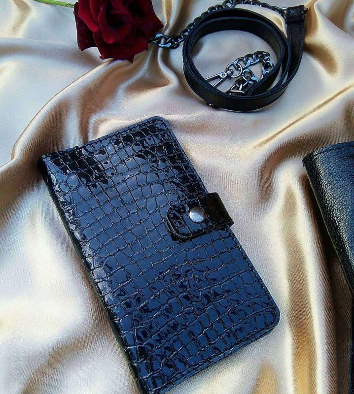 Женский кошелек из натуральной кожи под крокодила (черный) Черный Натуральная кожа Процюк Виктория - фото 2
