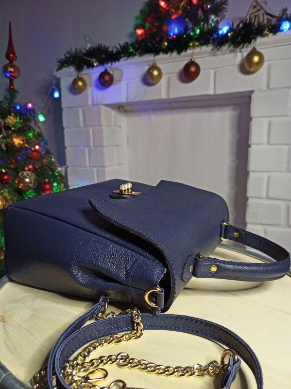 Кожаная женская сумочка на длинном ремешке Синий Натуральная кожа Процюк Виктория - фото 7
