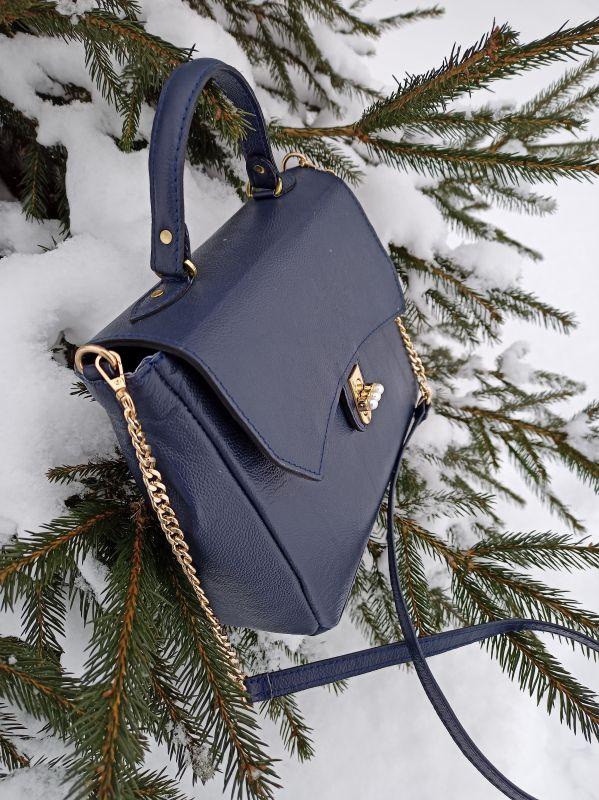 Кожаная женская сумочка на длинном ремешке Синий Натуральная кожа Процюк Виктория - фото 8