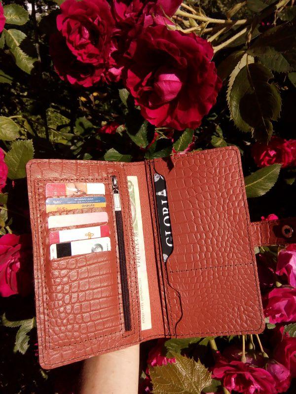 Женский кожаный кошелек под крокодила (коричневый) Коричневый Натуральная кожа Процюк Виктория - фото 5