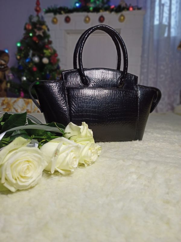 Большая женская сумочка ручной работы Черный Натуральная кожа Процюк Виктория - фото 1
