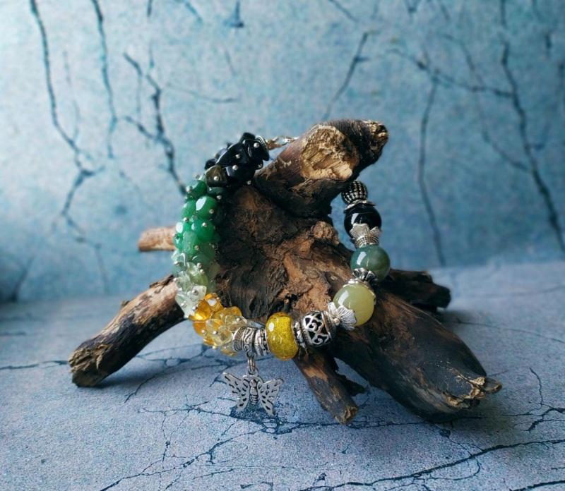 """Браслет """"Краски дня"""" Разноцветный Нефрит, моховый агат, ага Пищерикова Марина - фото 3"""