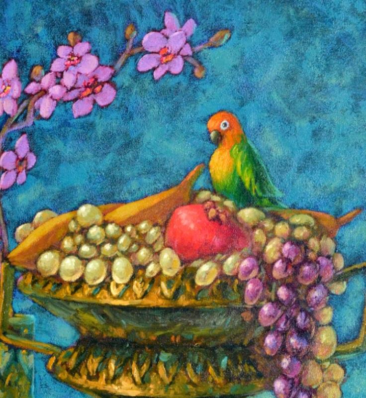 Натюрморт с попугайчиком  холст, масло Радаева Елена - фото 2