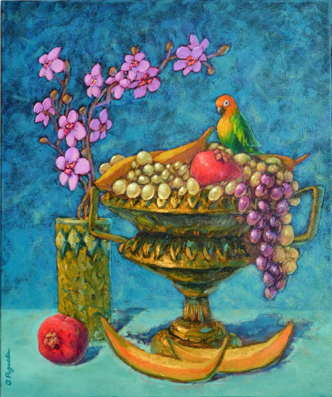 Натюрморт с попугайчиком  холст, масло Радаева Елена - фото 1