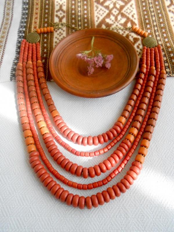 Керамическое ожерелье Красный Керамика ручная работа Розпутняк Любовь - фото 1