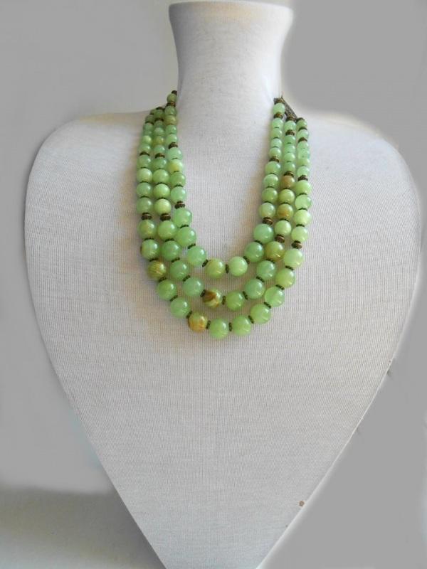 Ожерелье из оникса Зеленый Натуральный камень оникс Розпутняк Любовь - фото 1