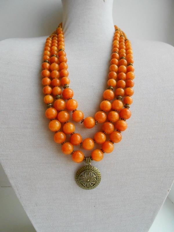 Ожерелье с медальоном Оранжевый Натуральный камень оникс Розпутняк Любовь - фото 1
