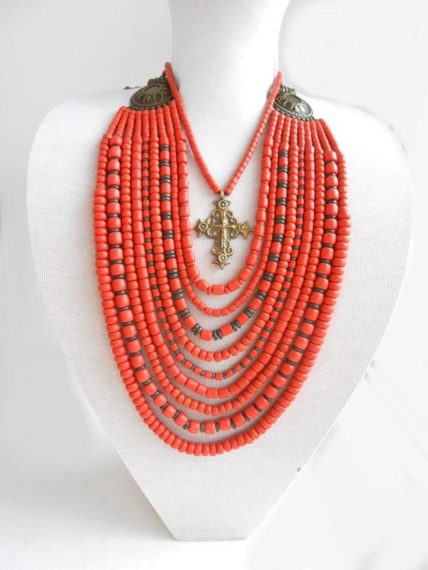 Ожерелье из згардой Красный Керамика ручной работы, г Розпутняк Любовь - фото 1