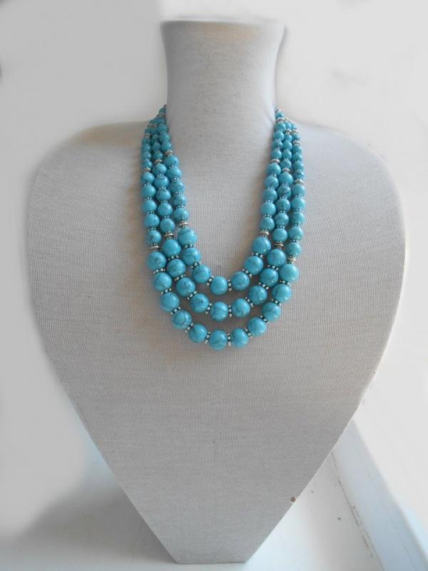 Ожерелье из бирюзы Голубой Натуральная прессованная Розпутняк Любовь - фото 1