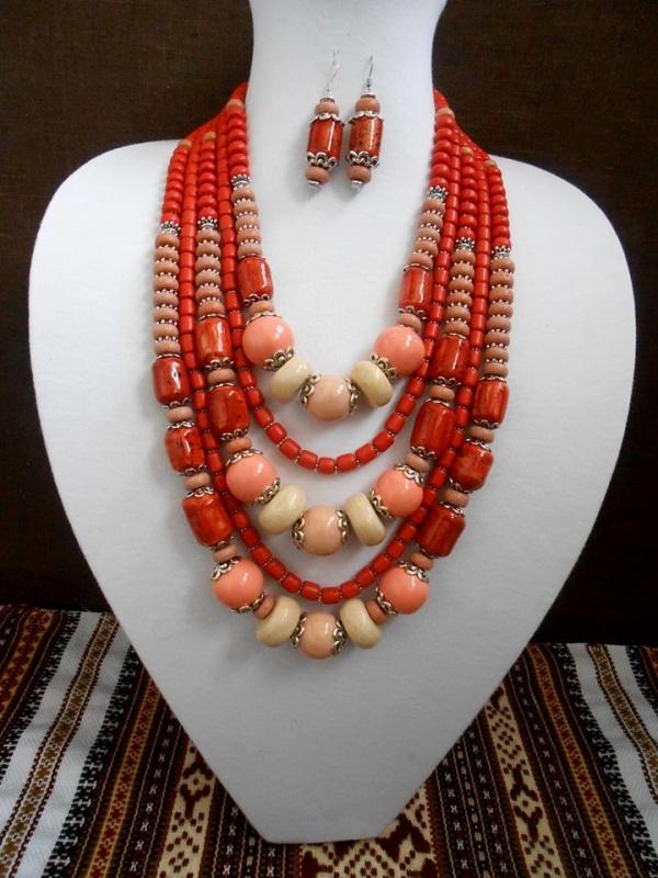 Керамическое ожерелье Красный Керамика ручной работы Розпутняк Любовь - фото 1